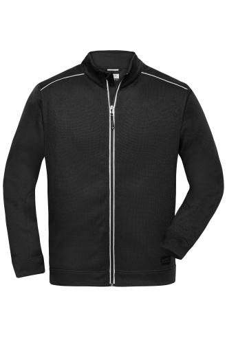 Mens Knitted Workwear Fleece Jacket - SOLID - black/black