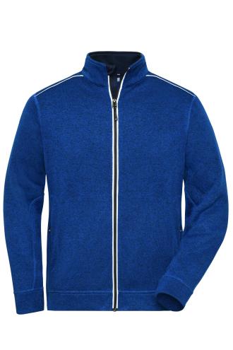 Mens Knitted Workwear Fleece Jacket - SOLID - dark-royal-melange/navy