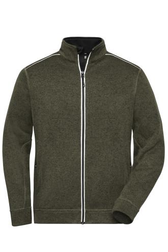 Mens Knitted Workwear Fleece Jacket - SOLID - olive-melange/black