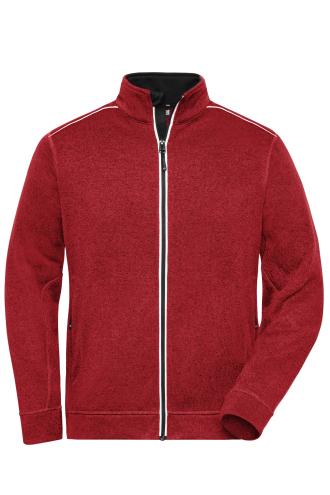 Mens Knitted Workwear Fleece Jacket - SOLID - red-melange/black