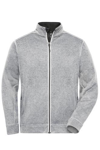 Mens Knitted Workwear Fleece Jacket - SOLID - white-melange/carbon