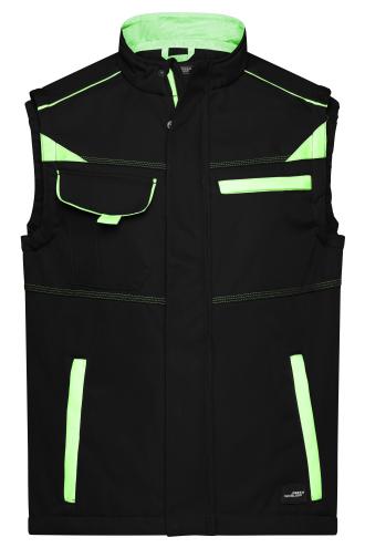 Workwear Softshell Vest - COLOR - black/lime-green