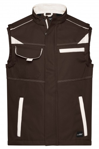 Workwear Softshell Vest - COLOR - brown/stone