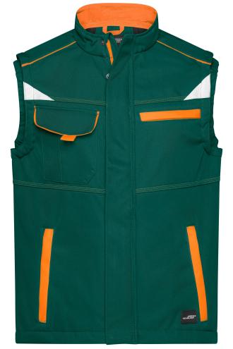 Workwear Softshell Vest - COLOR - dark-green/orange