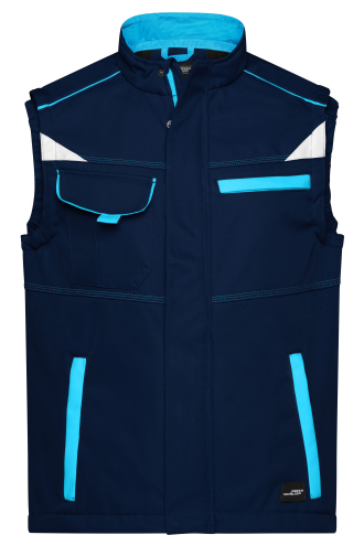 Workwear Softshell Vest - COLOR - navy/turquoise
