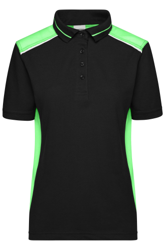 Ladies Workwear Polo - COLOR - black/lime-green
