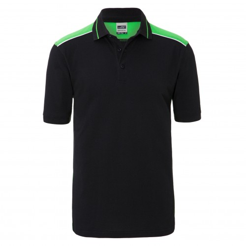 Mens Workwear Polo - COLOR - black/lime-green