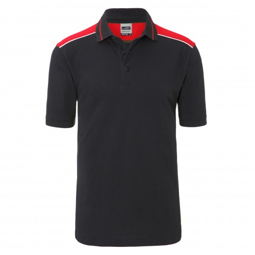 Mens Workwear Polo - COLOR - carbon/red