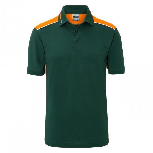 Mens Workwear Polo - COLOR - dark-green/orange