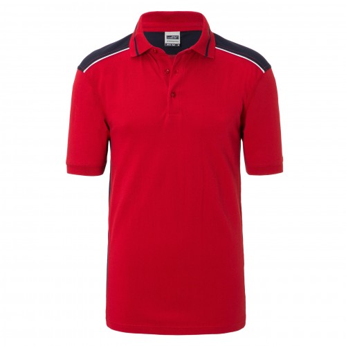 Mens Workwear Polo - COLOR - red/navy
