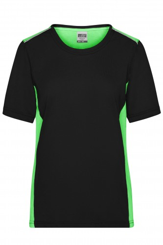 Ladies Workwear T-Shirt - COLOR - black/lime-green