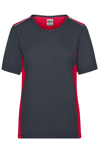 Ladies Workwear T-Shirt - COLOR - carbon/red