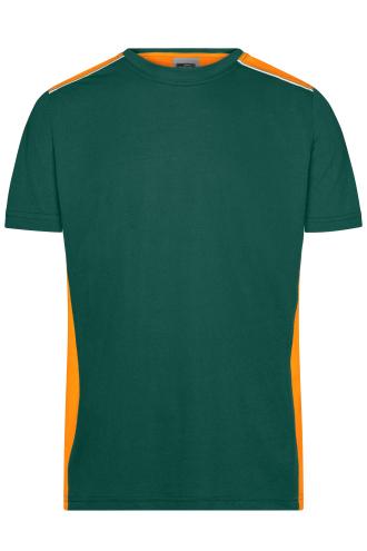 Mens Workwear T-Shirt - COLOR - dark-green/orange