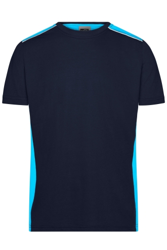 Mens Workwear T-Shirt - COLOR - navy/turquoise