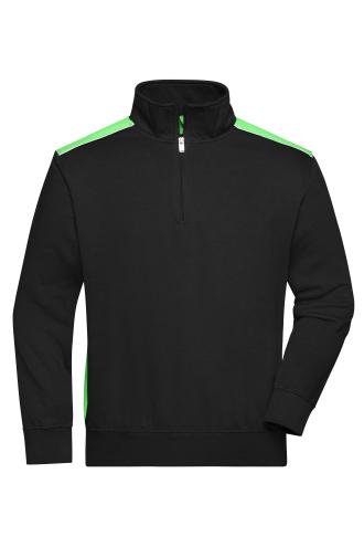 Workwear Half-Zip Sweat - COLOR - black/lime-green