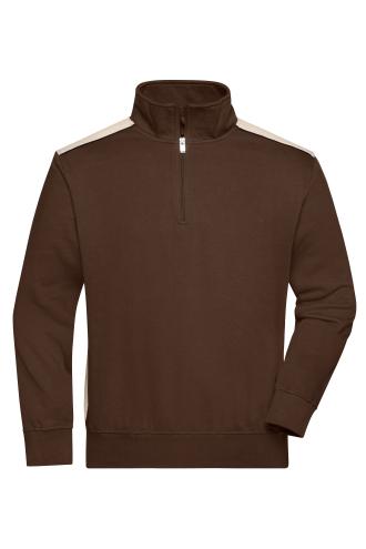 Workwear Half-Zip Sweat - COLOR - brown/stone