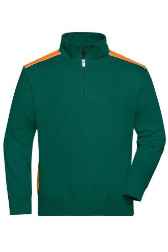 Workwear Half-Zip Sweat - COLOR - dark-green/orange