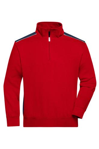 Workwear Half-Zip Sweat - COLOR - red/navy