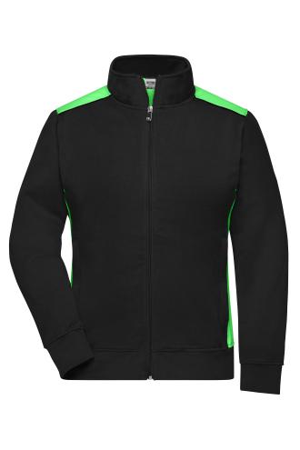 Ladies Workwear Sweat Jacket - COLOR - black/lime-green