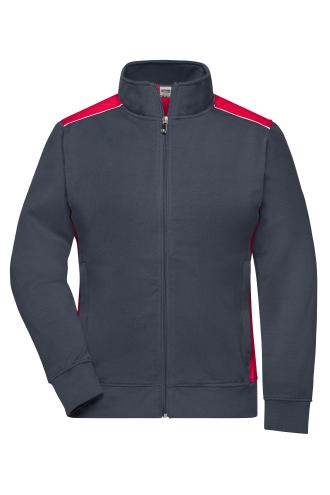 Ladies Workwear Sweat Jacket - COLOR - carbon/red