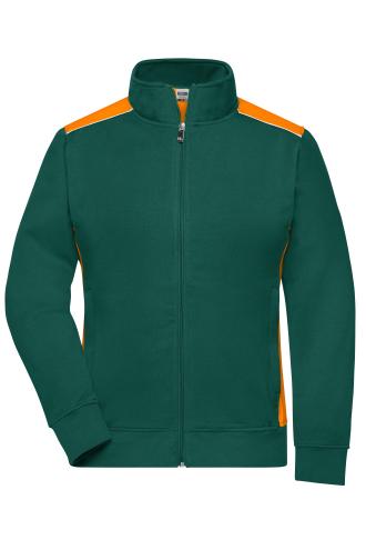 Ladies Workwear Sweat Jacket - COLOR - dark-green/orange