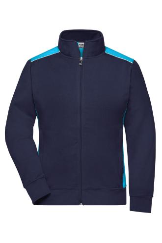 Ladies Workwear Sweat Jacket - COLOR - navy/turquoise