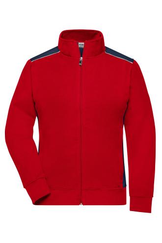 Ladies Workwear Sweat Jacket - COLOR - red/navy