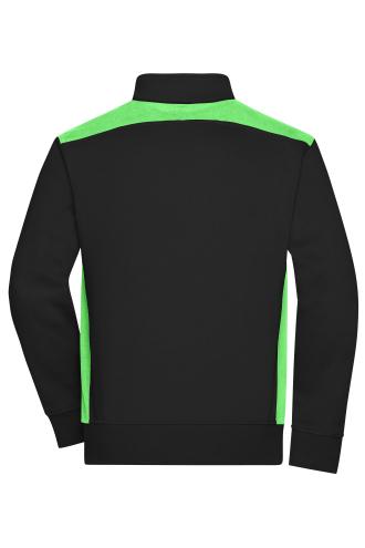 Mens Workwear Sweat Jacket - COLOR - black/lime-green