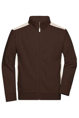 Mens Workwear Sweat Jacket - COLOR - brown/stone