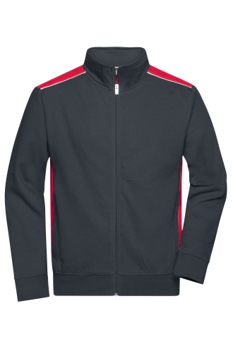 Mens Workwear Sweat Jacket - COLOR - carbon/red