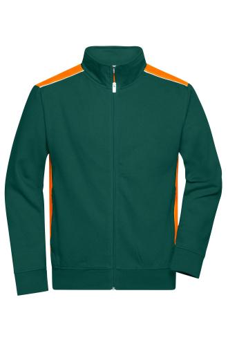 Mens Workwear Sweat Jacket - COLOR - dark-green/orange