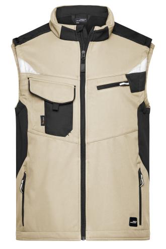 Workwear Softshell Vest - STRONG - stone/black