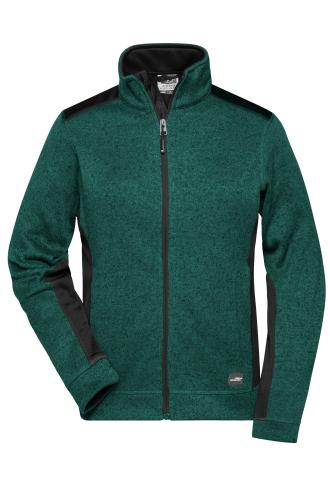 Ladies Knitted Workwear Fleece Jacket - STRONG - dark-green-melange/black