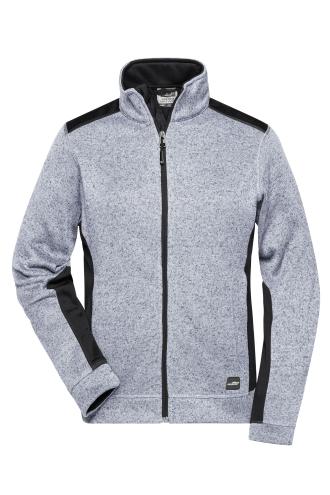 Ladies Knitted Workwear Fleece Jacket - STRONG - white-melange/carbon
