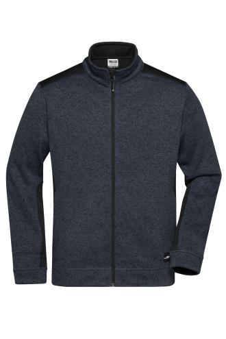 Mens Knitted Workwear Fleece Jacket - STRONG - carbon-melange/black