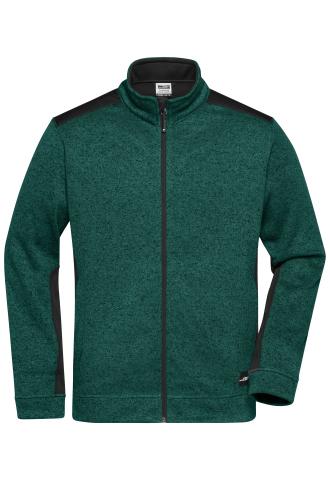 Mens Knitted Workwear Fleece Jacket - STRONG - dark-green-melange/black