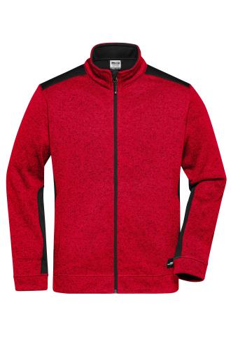 Mens Knitted Workwear Fleece Jacket - STRONG - red-melange/black