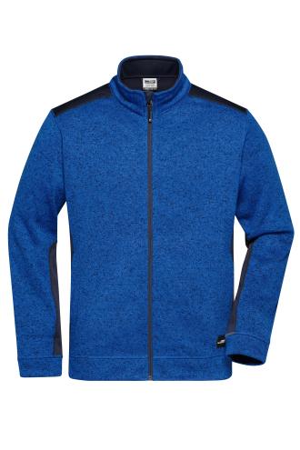 Mens Knitted Workwear Fleece Jacket - STRONG - royal-melange/navy