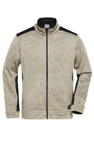 Mens Knitted Workwear Fleece Jacket - STRONG - stone-melange/black