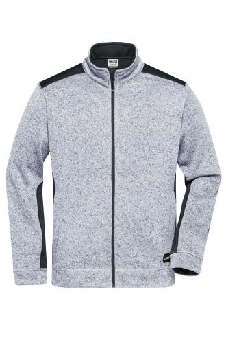 Mens Knitted Workwear Fleece Jacket - STRONG - white-melange/carbon