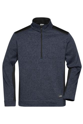 Mens Knitted Workwear Fleece Half-Zip - STRONG - carbon-melange/black
