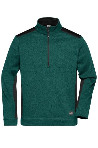 Mens Knitted Workwear Fleece Half-Zip - STRONG - dark-green-melange/black