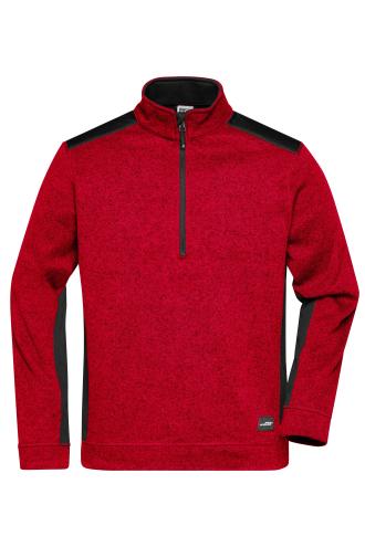 Mens Knitted Workwear Fleece Half-Zip - STRONG - red-melange/black
