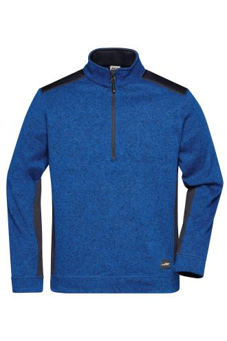 Mens Knitted Workwear Fleece Half-Zip - STRONG - royal-melange/navy