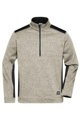 Mens Knitted Workwear Fleece Half-Zip - STRONG - stone-melange/black