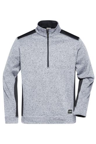 Mens Knitted Workwear Fleece Half-Zip - STRONG - white-melange/carbon