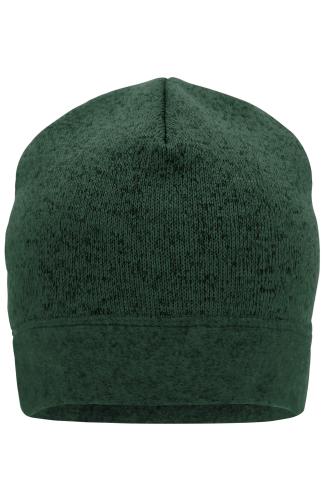 Knitted Fleece Workwear Beanie - STRONG - dark-green-melange/black