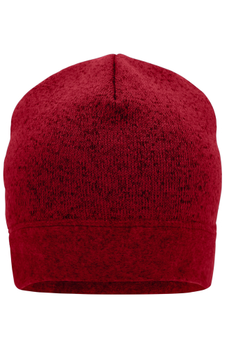 Knitted Fleece Workwear Beanie - STRONG - red-melange/black