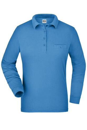 Ladies Workwear Polo Pocket Longsleeve - aqua