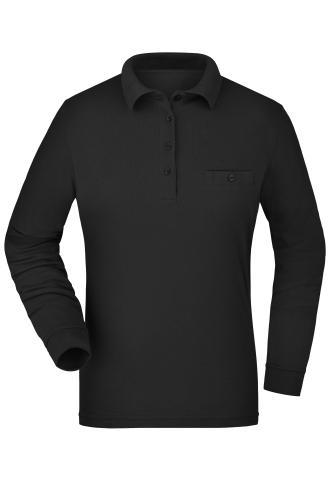 Ladies Workwear Polo Pocket Longsleeve - black